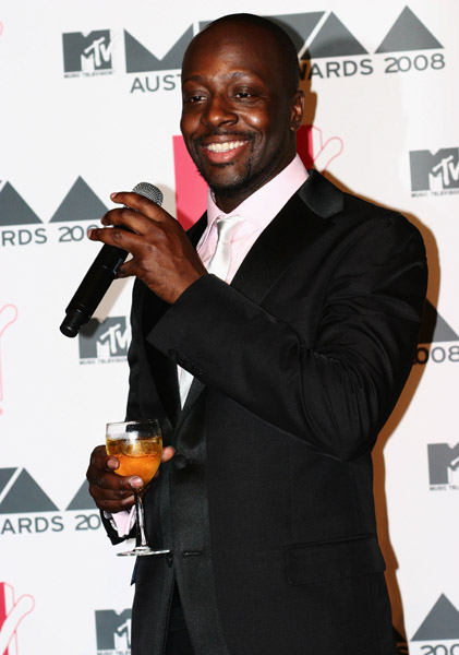 Wyclef Jean poses backstage in the Awards Room at the MTV Australia Awards 2008