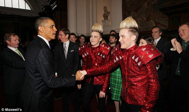 President Obama meets Irish superstars Jedward