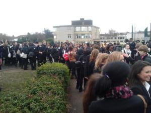 Students protesting outside Woodbridge High School over the cancellation of Adam Deacon's appearance