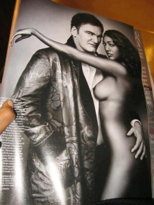 Actress Nichole Galicia (plays Sheba in Django Unchained) poses naked with director Quentin Tarantino in W Magazine spread.