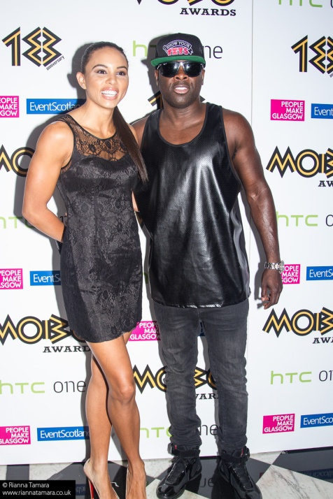 """URBAN"" comedian, Choice FM breakfast show host and spokesmodel for ' Show Us Your Tits' snapback caps and Land of Leather Kojo with date Louise Hazel"