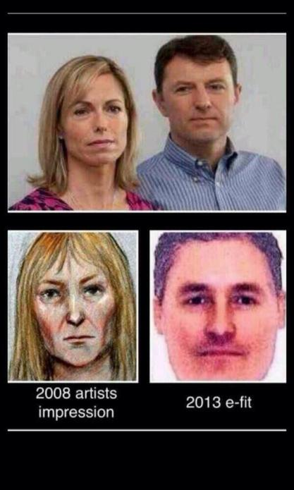 Above Gerry and Kate McCann. Below: E-Fits of suspects revealed on Crimewatch last night.