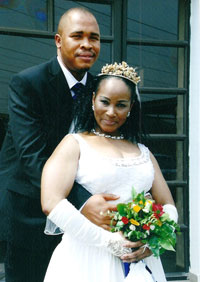 Rev Dr Powerful with her husband UC Emma Powerful on their wedding day