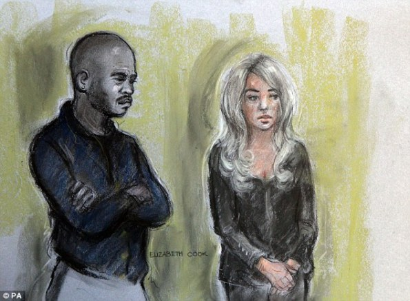 Court sketch of Michael Coombs and Tulisa Contostavlos standing in the dock.