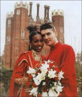 Easther and Boyzone star on their wedding day. Photographs were featured in OK! Magazine at the time.