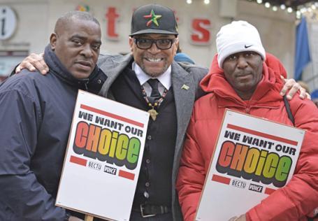 Former Choice FM DJ Daddy Ernie, left, campaigner Lee Jasper, centre, and DJ 279 (Trevor Raymond)