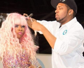 Terrence Davidson styling one of his wig creations.