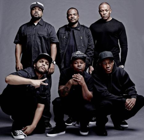 N.W.A biopic: Ice Cube, F. Gary Gray and Dr Dre with cast.