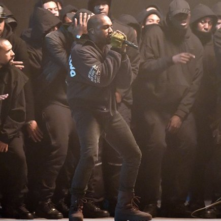 Kanye performing at the Brit Awards 2015