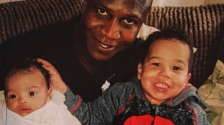Collect pic of  Sheku Bayoh, who died in Fife Police custody at an Edinburgh press conference thursday, with sons ISaac, left, and Tyler Pic Gordon Terris/The Herald 14/5/15