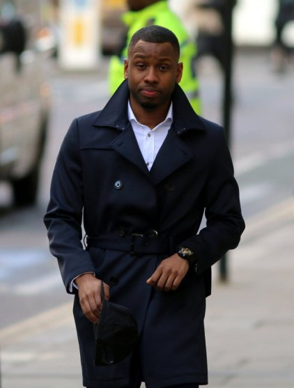 Pic shows Nathan Fagan-Gayle at the Old Bailey... .. Trial of failed X Factor hopeful Nathan Fagan-Gayle for money laundering - final defendant in the bank of terror case accused of ripping off pensioners... .. This afternoon, convicted and faces jail. 3.3.16.. SEE STORY CENTRAL NEWS
